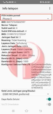 Info telepon Indeks ponsel
