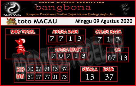 Prediksi Bangbona Togel Macau Minggu 09 Agustus 2020