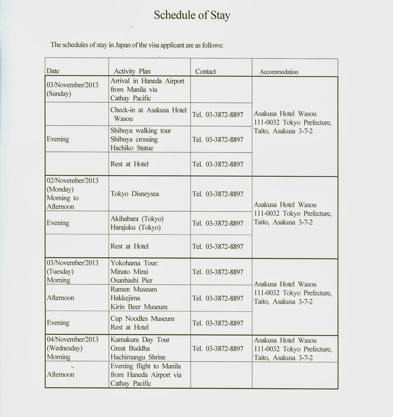 create itinerary for visa application