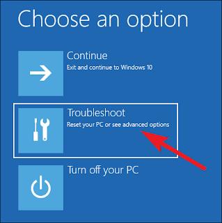 options à l'écran cliquez sur Dépanner