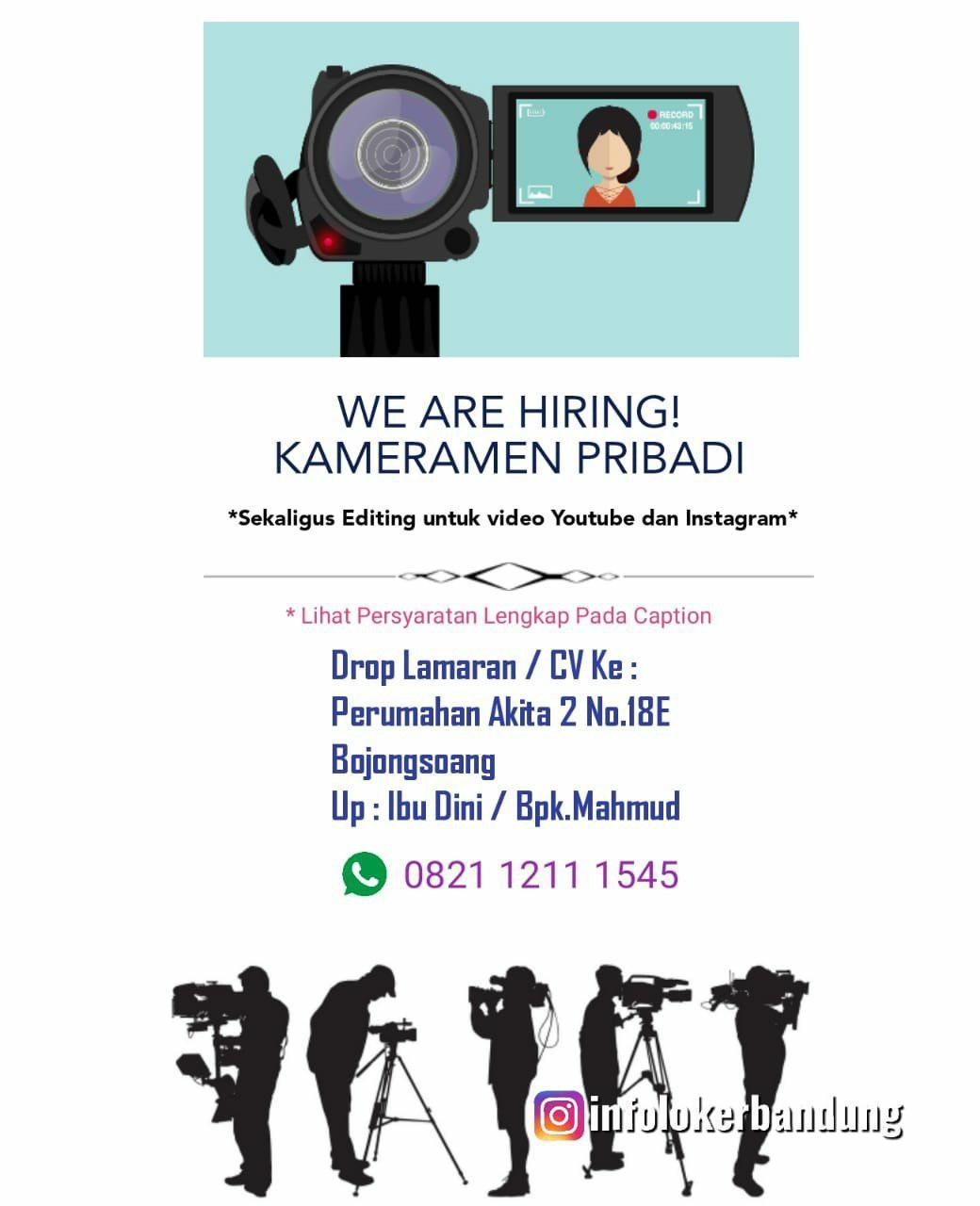 Lowongan Kerja Kameramen Pribadi Ammarrahmatullah Channel Bandung Maret 2019