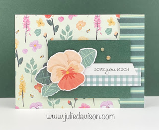 Stampin' Up! Pansy Petals Suite Designer Paper Card Base ~ Pansy Patch Card ~ www.juliedavison.com #stampinup