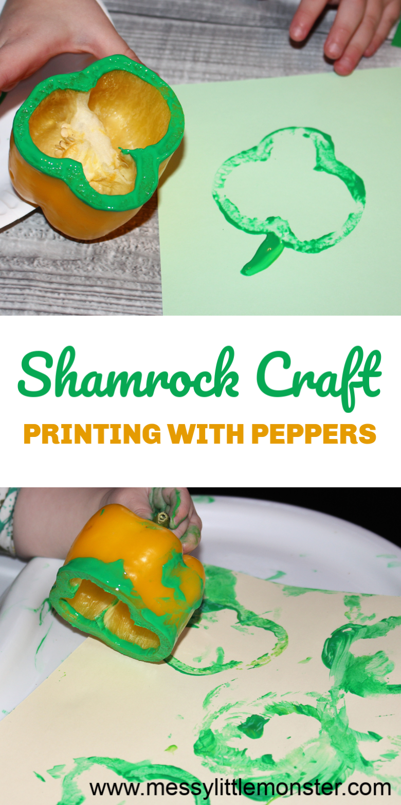 St Patricks Day craft for kids. Printing with peppers makes a great shamrock craft for preschoolers, toddlers and babies.