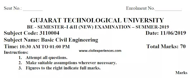Download GTU Exam Papers of BCE Summer 2019   Basic Civil Engineering GTU Exam Papers 3110004 PDF 2019   3110004 Paper PDF Download