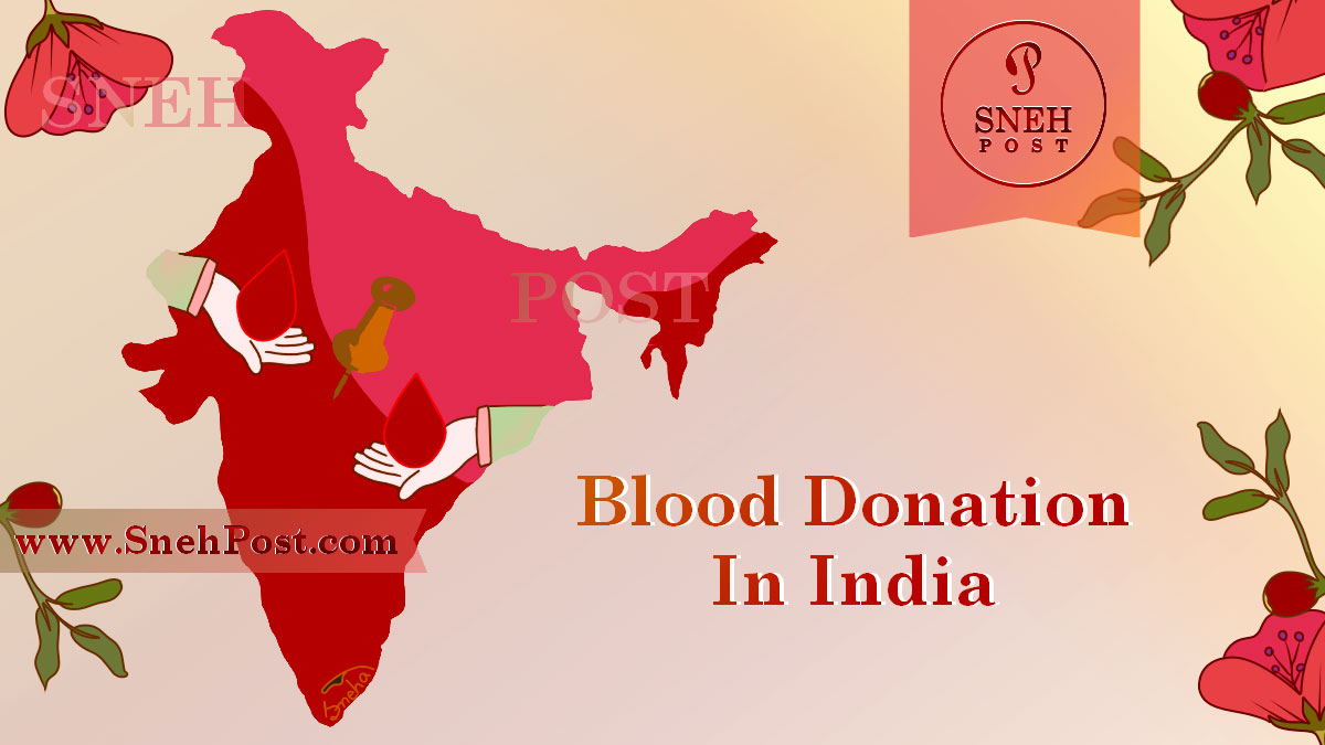 National Voluntary Blood Donation Day in India: Illustration of Red-pink map of India with floral background and blood drop giving and taking hands