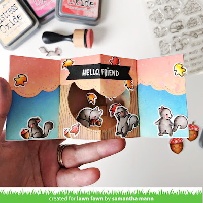 Let's Go Nuts Card by Samantha Mann for Lawn Fawn, Interactive, 3D card, Card Making, Distress Inks, Oxide Ink, Ink Blending, Cards, #lawnfawn #distressinks #youtube #tutorial #scene #3dcard #cardmaking
