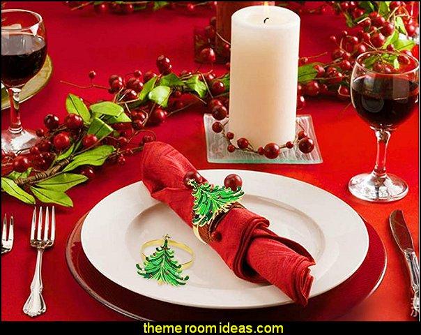 Christmas Napkin Rings Christmas Dinning Table christmas table decorations