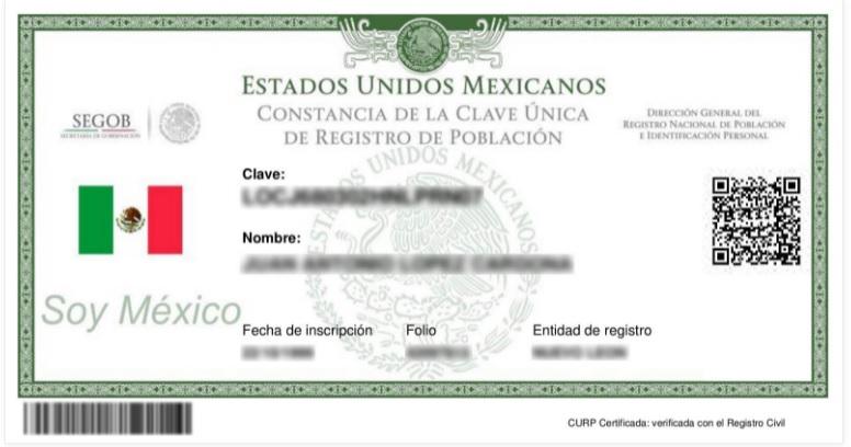 Curp Renapo Mexico Nuevo Formato Certificado y Actualizado