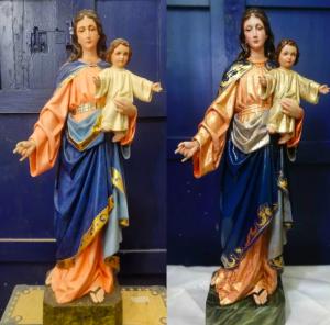 Restauran la primitiva talla de María Auxiliadora en Córdoba