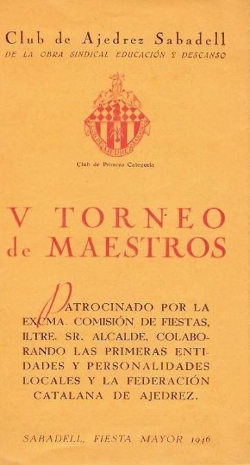 Díptico del V Torneo de Sabadel 1946