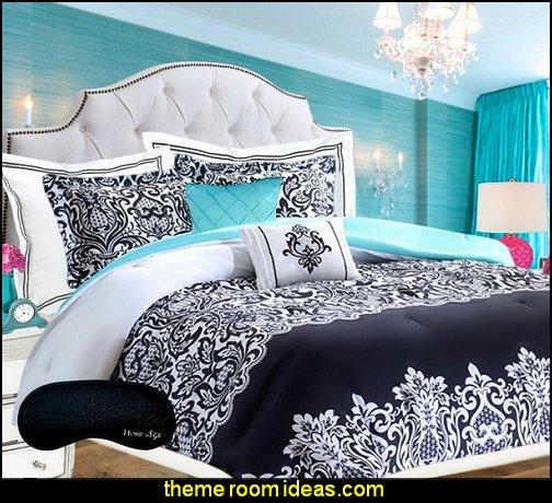 Damask Comforter SUPER SET Black and White Aqua Blue Teal