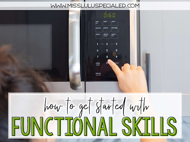 Girl pushing button on the microwave: get started with functional skills in special education