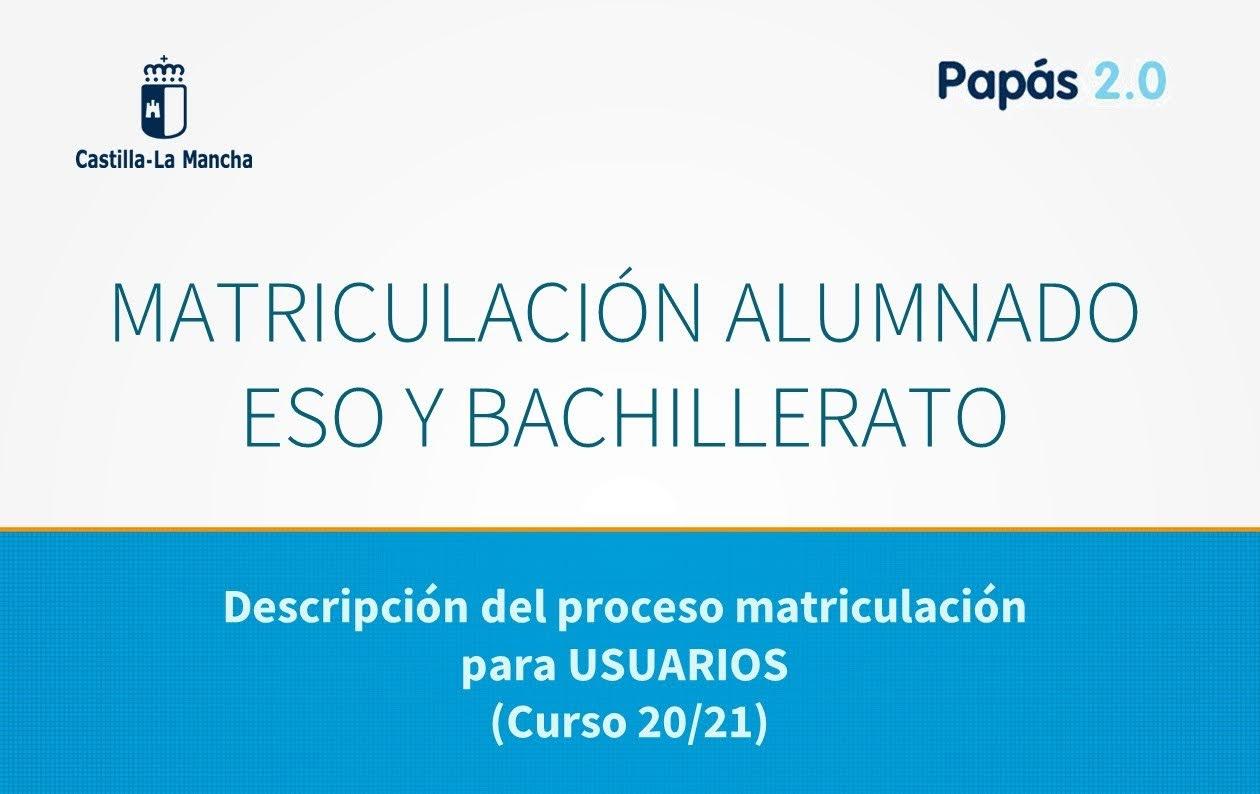 Matrícula online curso 20/21 ESO Y BACH del 30 junio al 10 julio