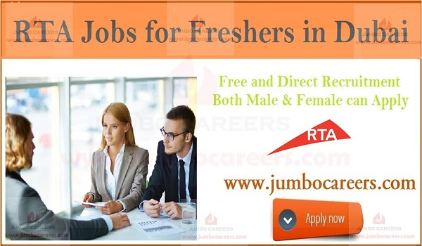 HR jobs for freshers in Dubai, Details of latest RTA jobs in Dubai,