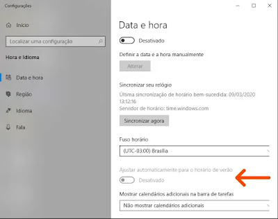Configuração Data/hora Windows 10