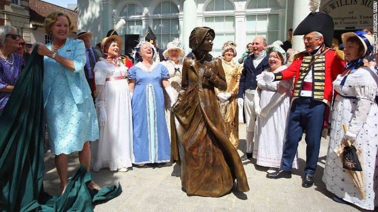 Worlds First Statue Of JANE AUSTEN Unveiled Today In Basingstoke