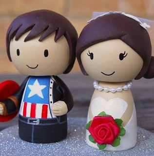 Captain America superhero wedding cake topper