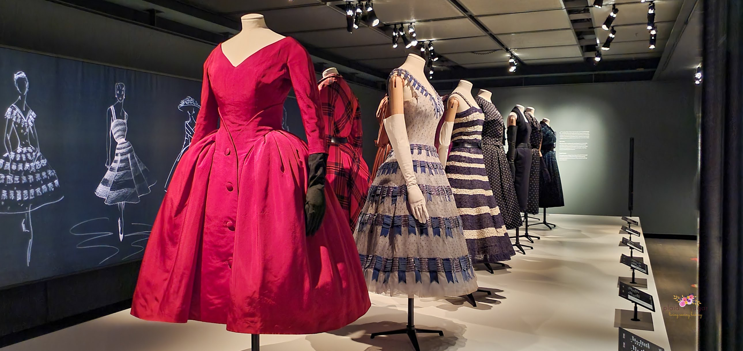 Original Dior Garments at the Exhibit at The McCord Museum post by Plaid and Sugar
