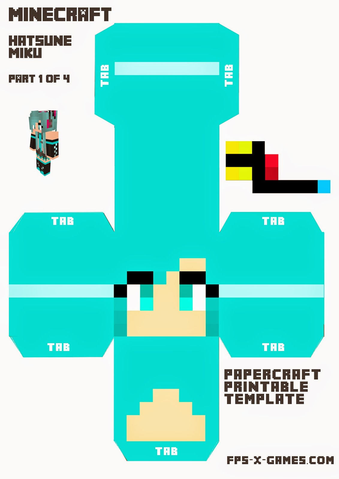 Large Printable Hatsune Miku Minecraft Character 1 of 4