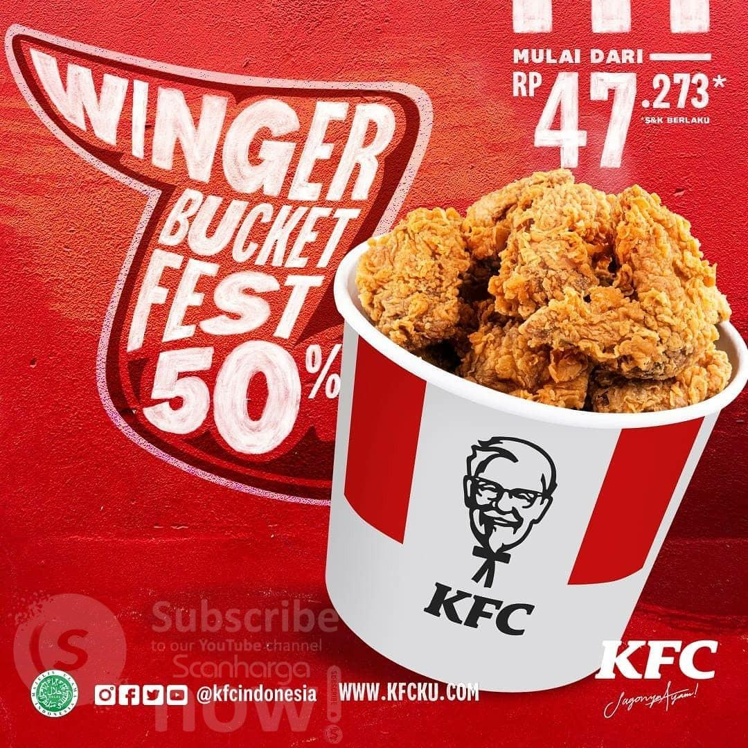 Promo KFC WINGER BUCKET FEST DISKON 50% - harga mulai Rp. 47.273*