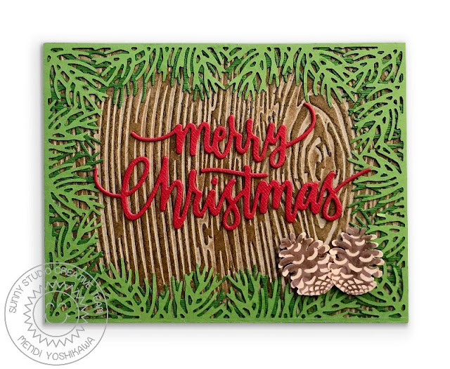 Sunny Studio:  Pinecone Merry Christmas Rustic Holiday Card (using Christmas Trimmings Stamps, Christmas Garland Frame Dies & Woodgrain 6x6 Embossing Folder)