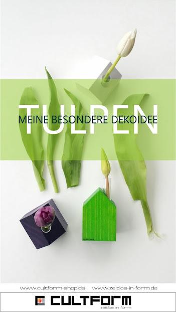 Inspiration: Frühlingsdeko Tulpen mal anders und besonders in Häuschen arrangiert, von Cultform-Design, hier: Tulpen - meine besondere Dekoidee, Flatlay
