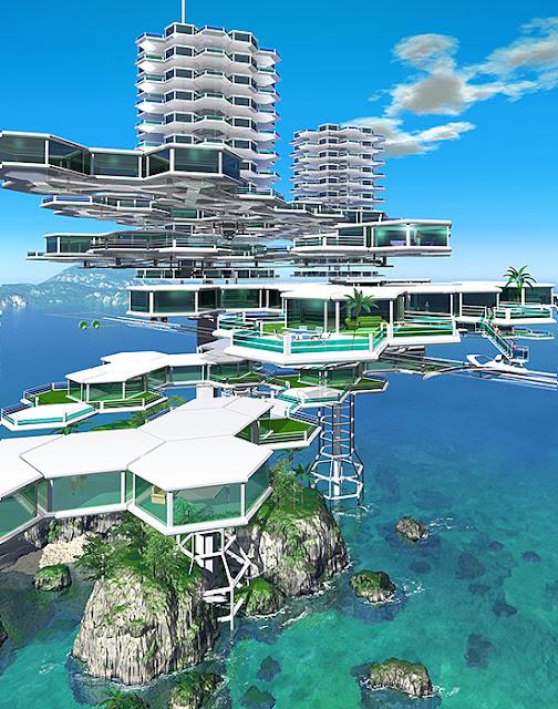 リアルイラスト、3DCG、俯瞰、海上住宅、近未来住宅、SF