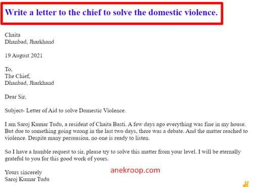 Write a letter to the chief to solve the domestic violence.