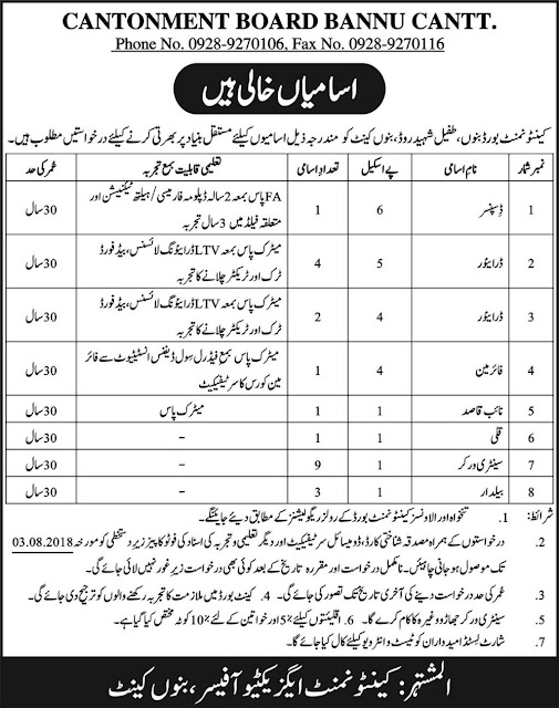 Jobs In Cantonment Board Bannu Cantt 20 July 2018