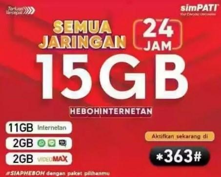 Pembagian Paket Combo 15GB Telkomsel 75 Ribu