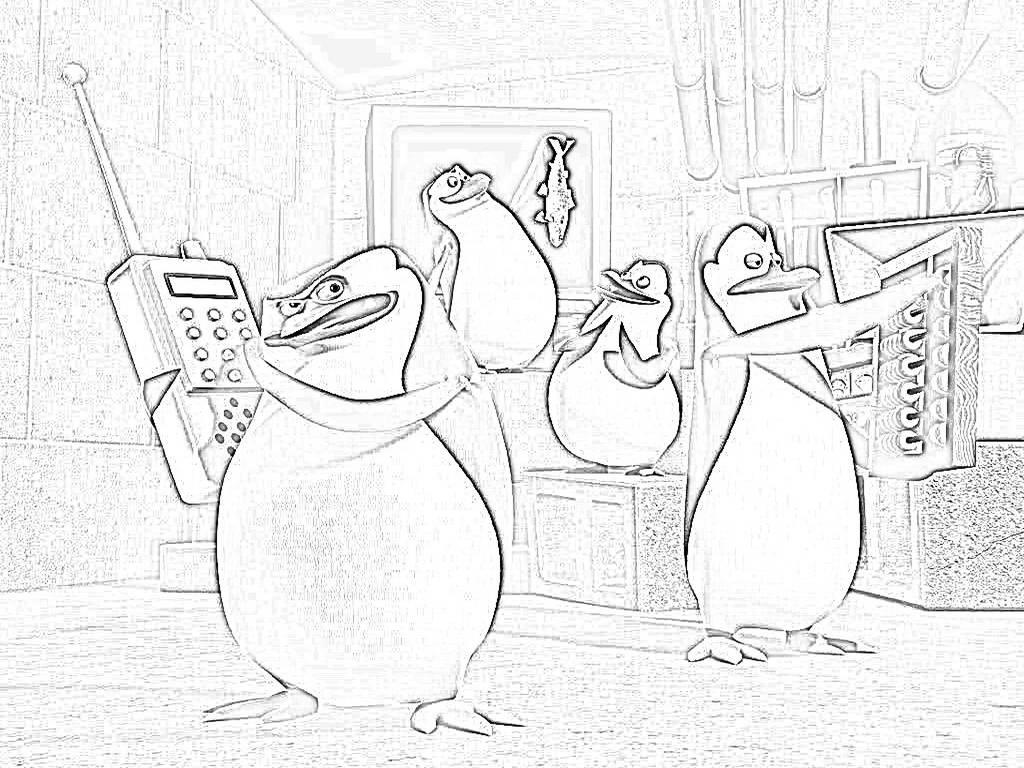 Pinguini Di Madagascar Da Colorare
