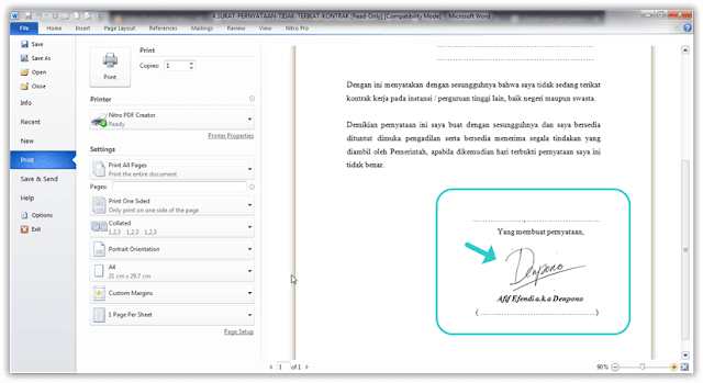 Cara Membuat Tanda Tangan di WORD Tanpa Scanner dan Photoshop