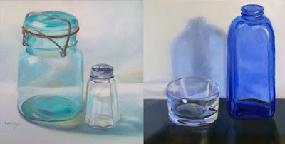 canning jar, blue glass, reflections, transluscency