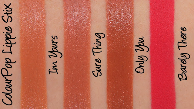 ColourPop Lippie Stix - Im Yours, Sure Thing, Only You and Barely There Swatches & Review