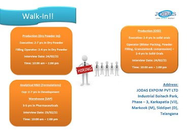 Walk-In Interviews for Production  / Analytical R&D on 24th & 25th Feb' 2021 @ JODAS EXPOIM PVT. LTD
