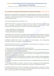board resolution for reconstitution of nomination and remuneration committee