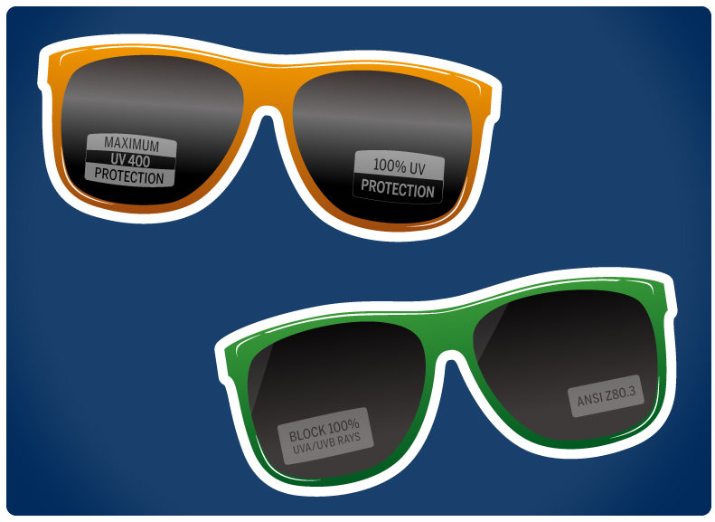 9c59a3e473 Examples of various stickers that will be on over the counter sunglasses to  demonstrate safety. If your  10 glasses don t have this sticker on them at  the ...