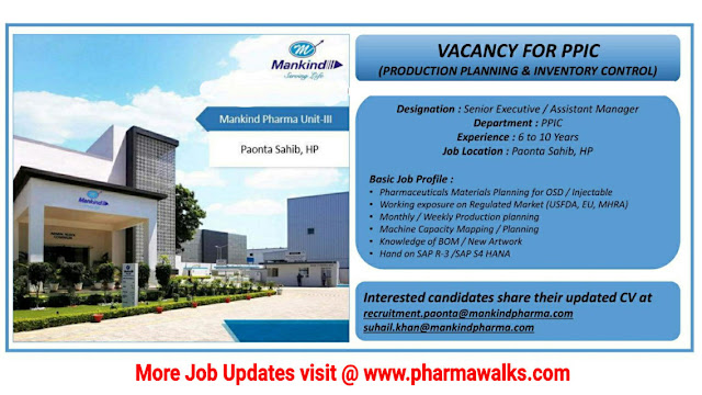 Mankind Pharma hiring for PIPC department | Apply Now
