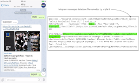 This image shows a screenshot of a chat session in telegram with messages sent between two participants. They're discussing the Supergeil advert for the German supermarket EDEKA. On the right we can see a sqlite3 session examining the db_sqlite file uploaded by the implant. Dumping the BLOB values in t7 it's possible to clearly see the plain-text of chat messages sent by both sides of the conversation.