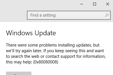 Cara Mengatasi Error 0x80080008 Update Windows 10