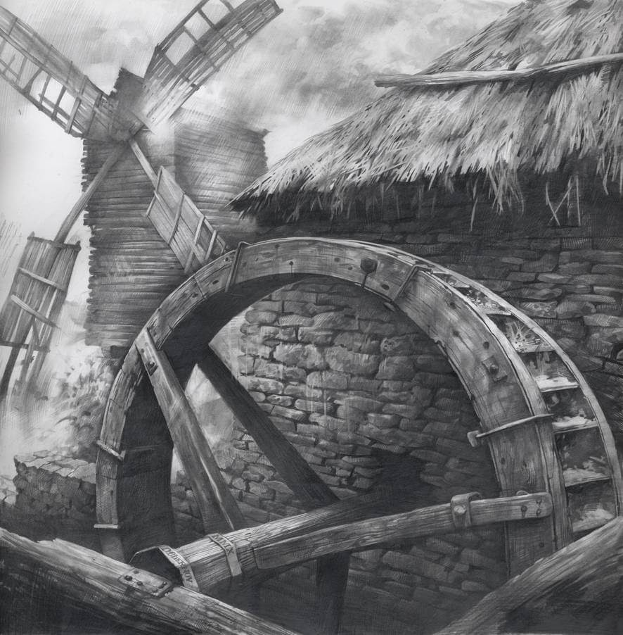 04-Watermill-and-Windmill-Denis-Chernov-Urban-Architecture-Pencil-Drawings-www-designstack-co