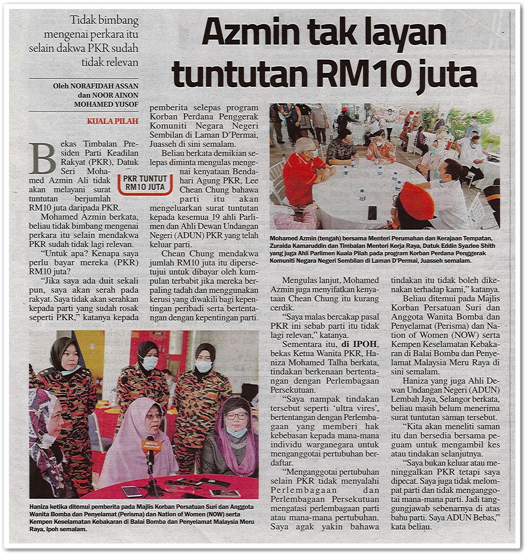 Azmin tak layan tuntutan RM10 juta - Keratan akhbar Sinar harian 2 Ogos 2020