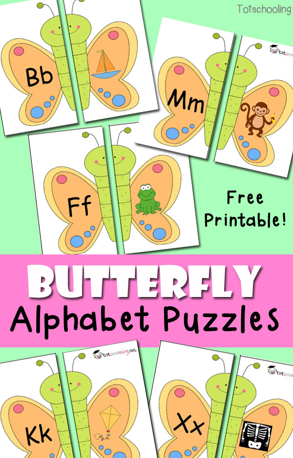 FREE printable Butterfly puzzles for learning the alphabet and beginning letter sounds.