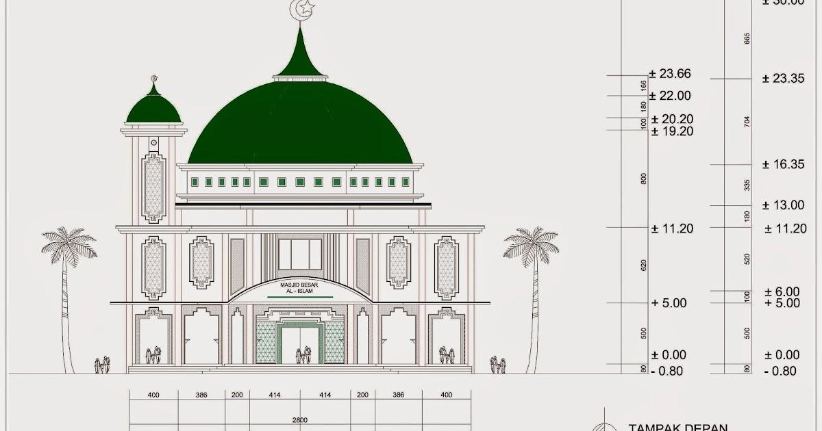 Masjid 2 Lantai Ukuran 28 m x 34 m dengan 1 Menara  Home