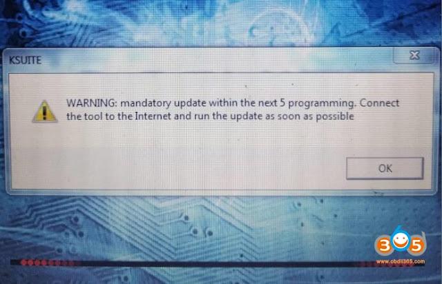 ktag Mandatory Update error