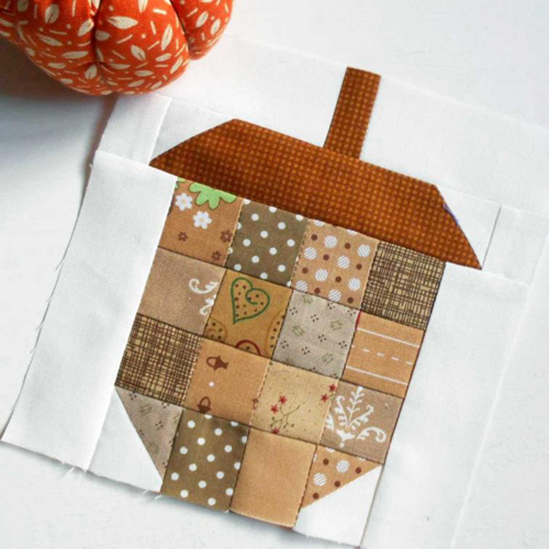 Scrappy Acorn Quilt Block - Free Pattern
