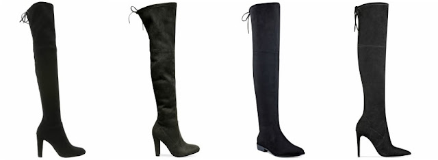 One of these pairs of over the knee boots is from Stuart Weitzman for $798 and the other three are under $100. Can you guess which one is the designer pair? Click the links below to see if you are correct!