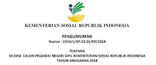 Penerimaan CPNS Tingkat SMA D3 S1 S2 Kementerian Sosial Republik Indonesia [210 Formasi]