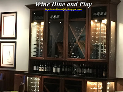 Wine rack and storage in the dining room at RumFish Grill in St. Pete Beach, Florida