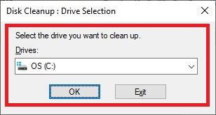 """Pilih """"Drive"""" atau pada memori mana yang ingin dicek atau dihapus file sampahnya. Contoh lihat gambar. Jika sudah klik Ok."""